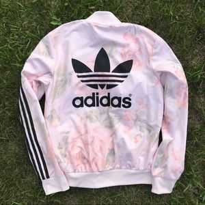 ADIDAS Floral Zip Up Sweatshirt